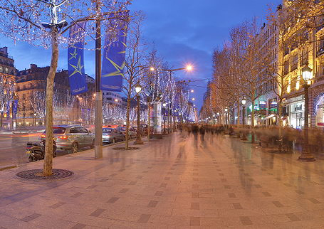 The Avenue des Champs-Élysées - a prestigious avenue in Paris, France. With its cinemas, cafés and luxury specialty shops