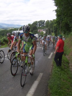 The Tour de France peleton coming over the top of the Col de Loucroup in 2008