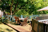 The deck next to the pool.0