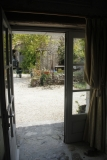 Looking out onto the courtyard and the outside eating area