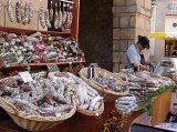 Market day in the medieval town of Eymoutiers on the banks of the River Vienne.